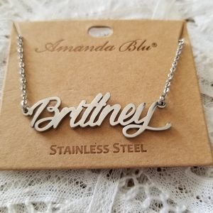 BRITTNEY Stainless Steel Name Necklace NWT